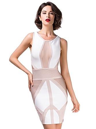 Alice & Elmer Damen Rayon white/nude colorblock Bandage