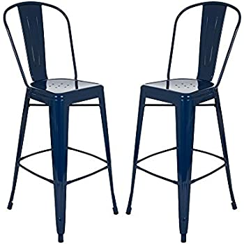 Amazon Com Glitzhome Vintage Metal Counter Bar Stools