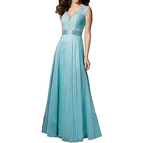 Tutu.Vivi Women's V Neck Evening Party Dresses Sleeveless Lace Prom Gowns Floor ()