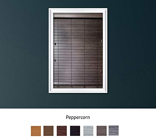 Luxr Blinds Custom Made Premium Faux Wood Horizontal Blinds W/Easy Inside Mount & Outside Mount Wood Blind – Size: 35X55 Inch & Wooden Color: Peppercorn