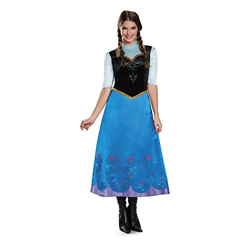 Adult Frozen Costumes (Disguise Women's Anna Traveling Deluxe Adult Costume, Multi,)