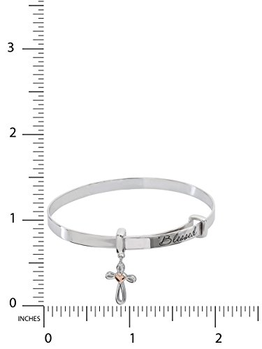 Hallmark Jewelry Baby & Girl's Sterling Silver Blessed Cross with Heart Adjustable Bangle Bracelet by Hallmark Jewelry (Image #3)