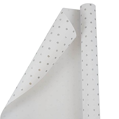 JAM PAPER Gift Wrap - Polka Dot Wrapping Paper - 25 Sq Ft - White with Silver Glitter Dots - Roll Sold Individually