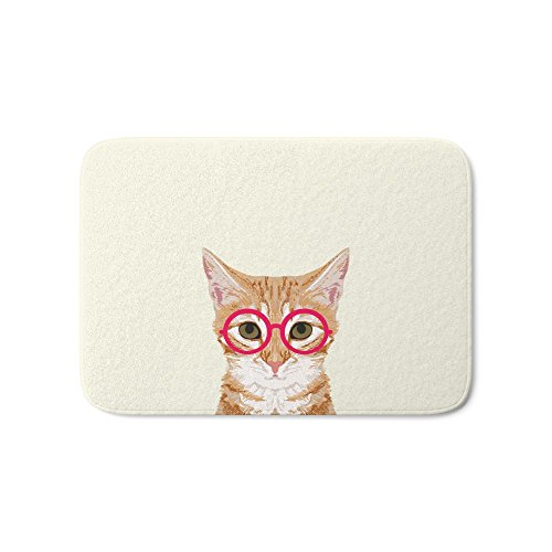 Society6 Ginger - Cute Cat With Glasses Hipster Cat Art For Dorm College Decor Funny Cat Lady Meme Bath Mat 21'' x 34'' by Society6 (Image #2)
