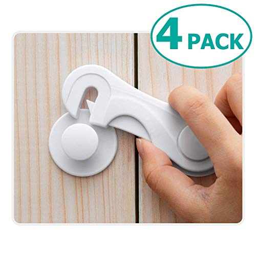Cabinet Locks, 4 Pack Child Proof Cabinet Safety Locks, Baby Safety Cabinet Locks, Baby Latches 3M Adhesive Drawers Locks No Tools or Drilling Required