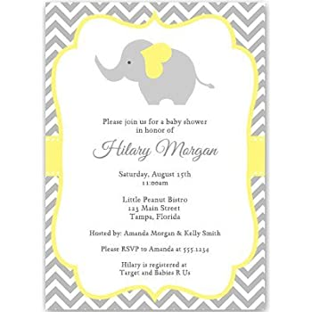 Amazon elephant baby shower invitations chevron stripes elephant baby shower invitations chevron stripes gender neutral yellow gray filmwisefo