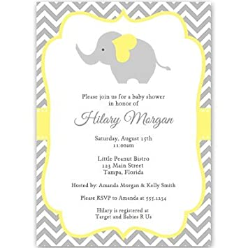 Amazon elephant baby shower invitations chevron stripes elephant baby shower invitations chevron stripes gender neutral yellow gray filmwisefo Choice Image