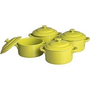 4 x Mini Cocotten Set / Auflaufformen / Keramikformen, grün   Ø 10 cm