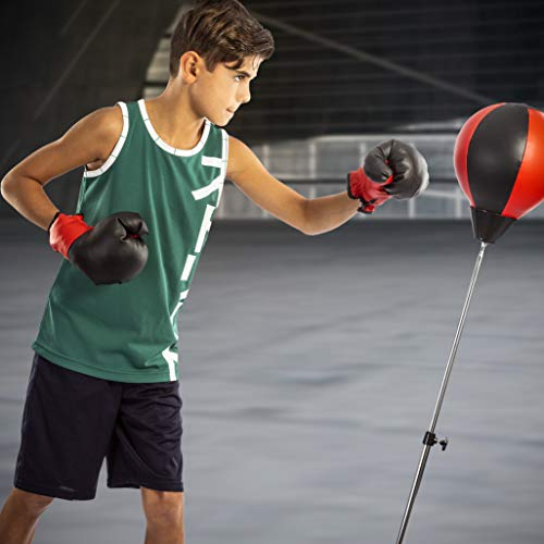 Punching Ball with Stand and Gloves - Height Adjustable - Great Exercise & Fun Activity for Kids by TechTools