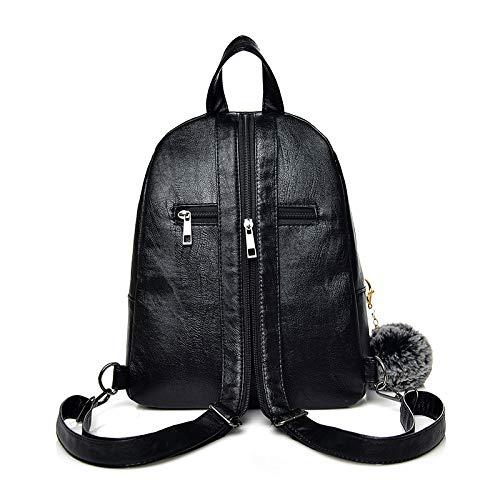 Patchwork Black2 Back Mode Femmes Luxe Sacs dos Pack fourrure VHVCX de Designer boule à dames dos Sac Sacs Sac de voyage femmes à wxCCqRHB