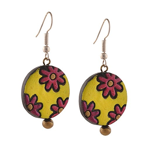 Zephyrr Fashion Handmade Painted Terracotta Hook Dangle Earrings