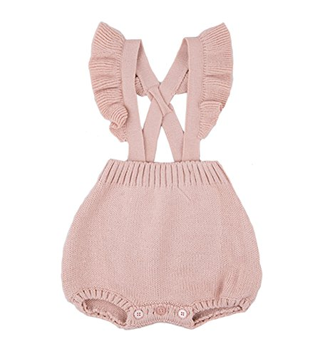 Chulianyouhuo Baby Girls Knitted Lace Romper Cross Bandage Ruffles Jumpsuit Bodysuit, Pink, 73/Fit 6-9 months (Infant Baby Fleece Bubble Romper)