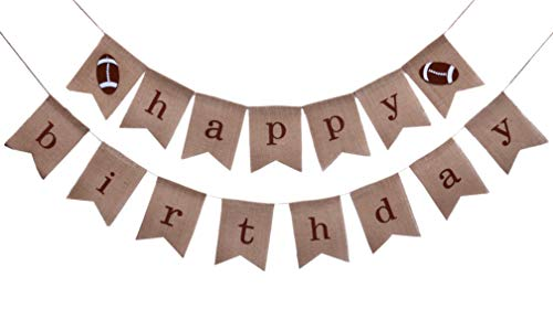 Rustic Football Happy Birthday Burlap Banner for Kids Boys Girls Adult| NFL Superbowl Sports Party Decorations Flag | First 1st 2nd 3rd 4th 30th 40th 50th 60th Dad Football Birthday Backdrop | Eagles Party Supplies and Favors | Pre-Strung No Need DIY ()