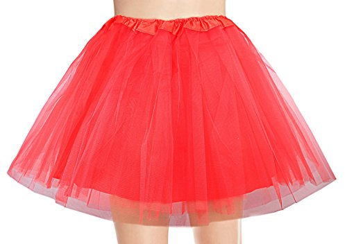 Women's, Teen, Adult Classic Elastic 3, 4, 5 Layered Tulle Tutu Skirt (One Size, (Red Adult Tutu)