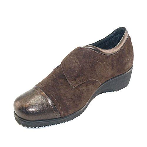 Hergos H 8032dunkelbraunem Wildleder–Schuhe komfortabel und elegant, echtes Leder–Rabatt letzten Zahlen Dunkelbraun