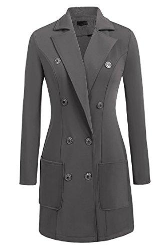 Zeagoo Women's Winter Double Breasted Long Trench Coat Wool Pea Coat Jacket Grey L by Zeagoo