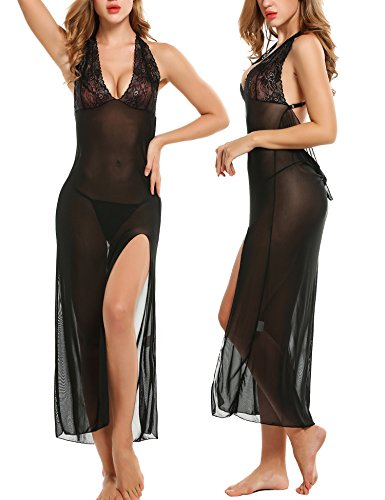 Long Sheer Nightgown - Avidlove Women Sexy Lingerie long Dress Robe Lace Splicing Chemises set Black L