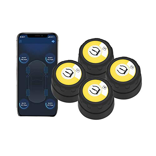 BARTUN Bluetooth Wireless Tire Pressure Monitoring System with 4 Extemal Sensors, Real-time Displays 4 Tires' Pressure and Temperature TPMS, Supports Android and iOS