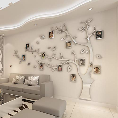 HUABOS Home Memory Wall Decal Tree Shape Sticker with Photo Frame 3D Family DIY Art Decor Room Background Decoration ()