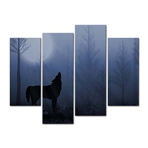 Poster 4 Full Piece - So Crazy Art - Canvas Print Wall Art Painting For Home Decor,Lone Wolf Howling Wolves In The Evening Forest Standing Under A Full Moon Wildlife Animal Dark Night 4 Piece Panel Paintings Modern Giclee Stretched And Framed Artwork The Picture For Living Room Decoration,Animal Pictures Photo Prints On Canvas