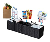 "Deler Foldable 4-Compartment Trunk Organizer with Cooling and Insulation for Car,SUV,Minivan and Truck,Sturdy and Flexible (45.2""11.8""11.8"")"
