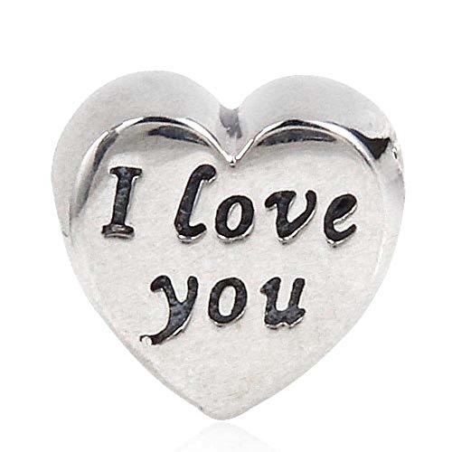I love you Charm 925 Sterling Silver Heart Charm Valentine Charm for DIY Charms Bracelet -