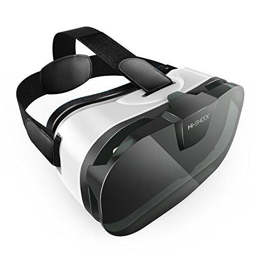 VR-SHARK® M3 - Google Cardboard | VR-Brille / VR-HMD / VR-Case für alle 4,0 - 6,5 Smartphone 's | Kompatibel zu ANDROID / NEXUS / SAMSUNG / LUMIA / LG / MOTO / HTC / HUAWEI / ZTE / XPERIA & iPhone 6S, 6S plus | inkl. umfangreiches Zubehör + perfekte QR Codes + 3 Jahre Garantie [FOV 100° | 310g | PD + FD | weiß]