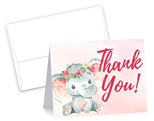 50 Pink Watercolor Girl Elephant Cute Baby Shower Thank You Cards, Double Sided Blank Inside with Envelopes- Made in the -