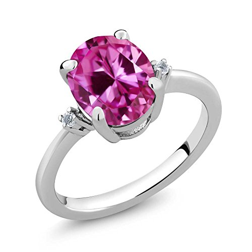 Created Sapphire & White Topaz Women's Ring (3.27 cttw, Available in size 5, 6, 7, 8, 9) (Pink Topaz Ring)