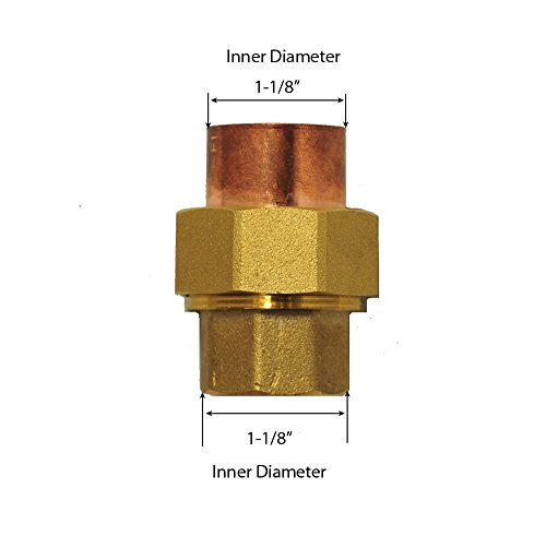 Libra Supply 1'' ,1 inch, 1-inch Lead Free Copper Sweat Union C x C (Copper + Brass + Copper) Solder Joint, (click in for more size options)Copper Pressure Pipe Fitting Plumbing Supply