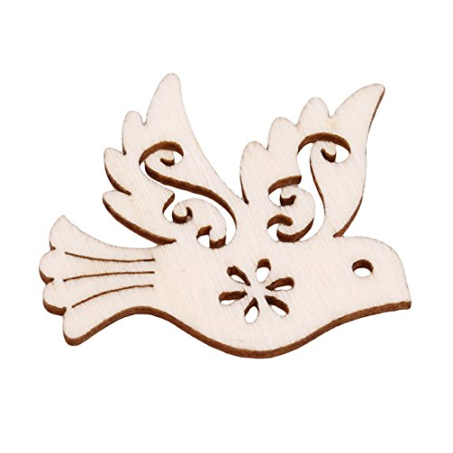 UNKE 10 Pcs Pigeon Love Birds Wooden Embellishments DIY Crafts Hanging Ornament Home Wedding Decoration by UNKE (Image #3)