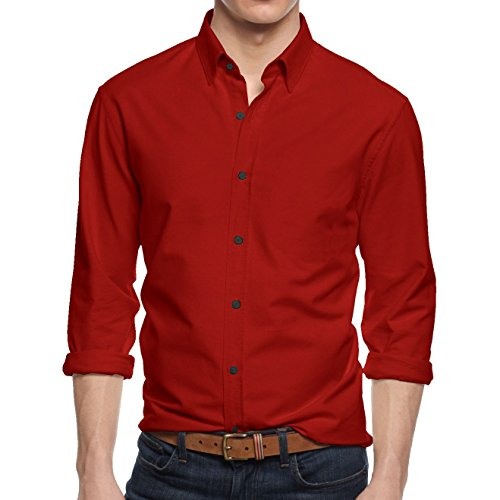 HB Men's Slim Fit Button Down Casual Long Sleeve Dress Shirt  - Medium / 15-15.5 - Red (Button Sleeve Long Red)