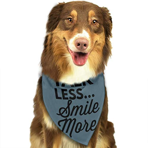 Heart Yan Talk Less Smile More Dog Bandana Triangle Bibs Bright Coloured Scarfs Accessories for Dogs Pet Cats and Baby Puppies Bow Tiess