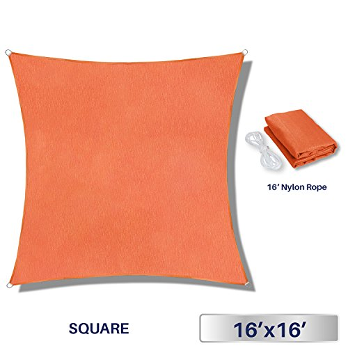 Windscreen4less 16' x 16' Sun Shade Sail Square Canopy in Orange with Commercial Grade (3 Year Warranty) Customized Sizes - Customized Shades