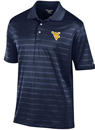 (Gear for Sports NCAA Men's Blue Embroidered Textured Fabric Polo Shirt (Large, West Virginia Mountaineers))