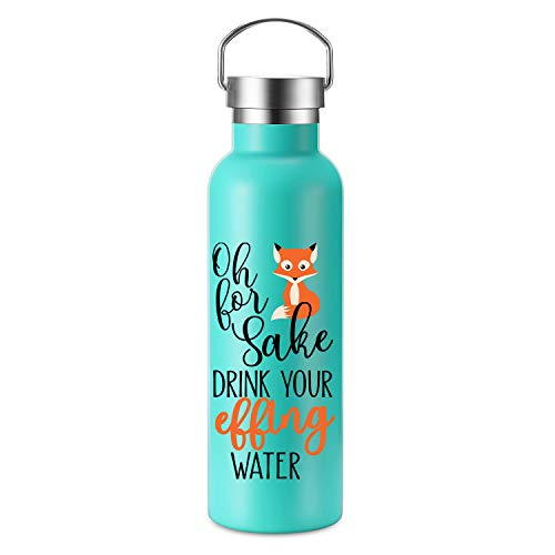 (Oh For Fox Sake - LEADO 25 oz Motivational Insulated Stainless Steel Sports Water Bottle Travel Tumbler - Funny Birthday, Mother's Day Gifts for Women, Moms, Friends, Wife - Drink More Water Daily)