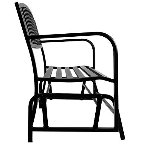 Belleze 50-Inch Outdoor Patio Glider Bench Rocker Swing Loveseat Seat Steel Frame, Black - Buy