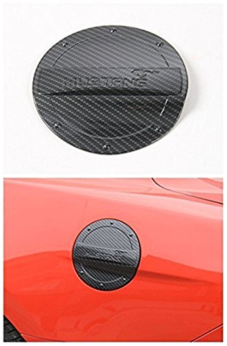 Bestmotoring Carbon fiber Fuel Filler Gas Tank Cap Door Cover Trim For Ford mustang 15-17 Black