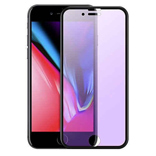 hoco. V4 Tempered Glass Film Screen Protector, 3D Full Coverage Anti Blue Light Ray Filter Anti Scratch Anti-Fingerprint, Compatible with iPhone 8+ 7+ Plus (iPhone 7 Plus/iPhone 8 Plus,Black)
