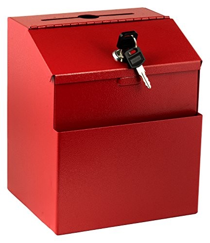 Adir Wall Mountable Steel Suggestion Box with Lock - Donation Box - Collection Box - Ballot Box - Key Drop Box (Red) with 25 Suggestion Cards by Adir Corp.