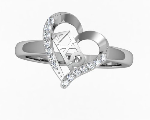 Greek Star Alpha Chi Omega Heart Silver Ring