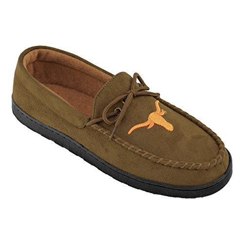 (College Edition NCAA (Team) Premium Men's Moccasin Shoes – Comfortable Flannel Lining Indoor and Outdoor use Easy Slip on and Off,)