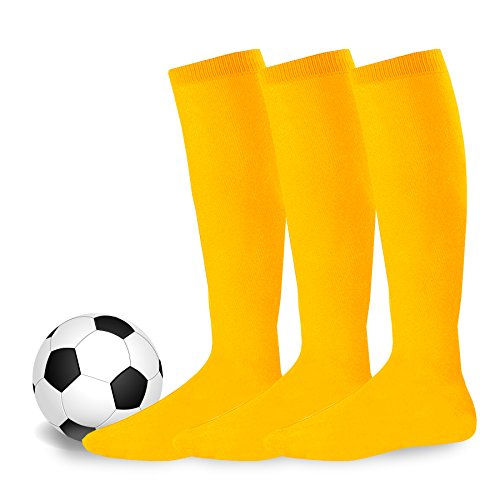 Soxnet Soccer Sports Team 3-pair Cushion Socks-Yellow, Medium (9-11) (Soccer Socks Yellow)