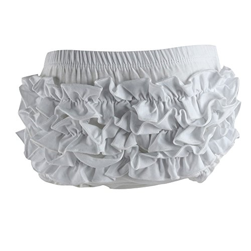 Ruffle Bloomers (Wennikids Baby Girl's Cotton Shorts and Diaper Cover Bloomers Large White)