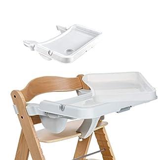 Hauck Alpha Tray, Essbrett mit herausnehmbarem Tablett, kompatibel mit Alpha +, pflegeleicht, leichte Montage, verstellbar, Bechervertiefung und erhöhtem Rand, weiß 1