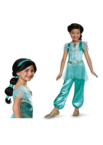 [Big Girls' Disney Princess Jasmine Costume and Wig Set] (Princess Jasmine Wig)