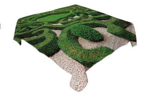 (Boxwood Hedge Outdoor Tablecloth Photo of Symmetric Complexity Garden Park Topiary Shrub on Gravels Green and Pale Tan Waterproof Table Cloth Rectangle Tablecloth 60 by 102 inch)