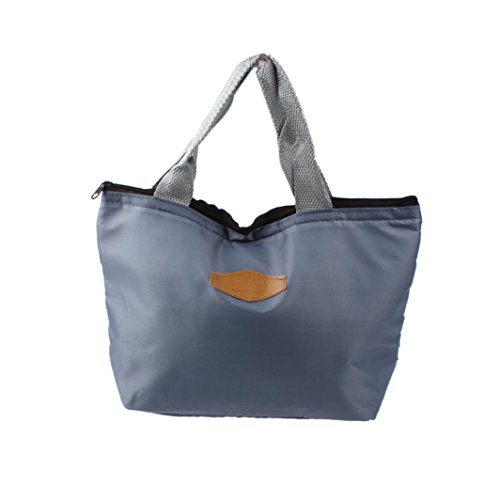 Rakkiss Lunch Bag, Waterproof Portable Picnic Insulated Food Storage Box Tote Lunch Container (Gray) (Miu Miu Designer Bags)