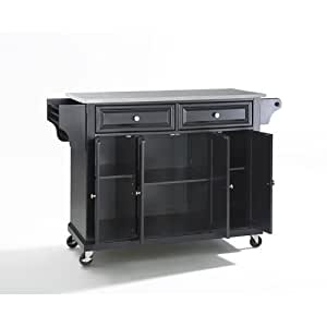 Crosley Furniture Stainless Steel Top Kitchen Cart Island Black Kitchen Dining