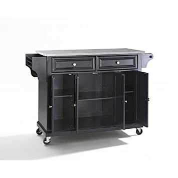 Crosley Furniture Rolling Kitchen Island With Stainless Steel Top Black